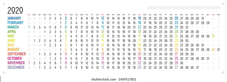 Creative wall calendar 2020 with linear rainbow design, sundays selected, english language. Multicolored template for web, business, print, postcard, wall, bookmark and banner.