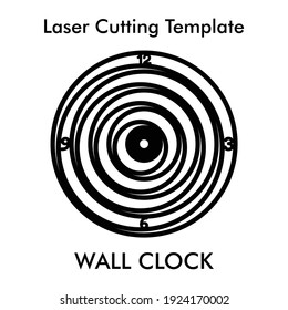 Creative wall clock laser cutting file for wall and home decor. Vector silhouette wall clock template for mdf and acrylic cutting.