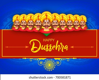 Creative Wallpaper design for Happy Dussehra, Vector Illustration of Vijay Dasmi festival with DussehraText and Ravana ten faces on decorative background on the occasion of Dussehra/VijayDasmi.