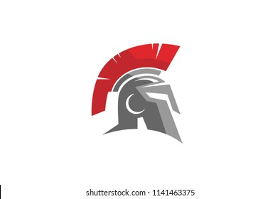 Creative Warrior Helmet Logo Symbol Vector Design Illustration