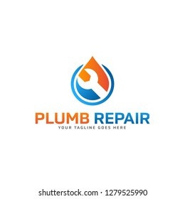 Creative  Water plumb repair logo design template Vector illustration