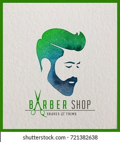 Creative watercolor logotype of man's head. Logo design for hair and barber salon.