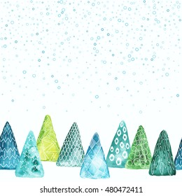Creative watercolor with ornament abstract Christmas trees. Holiday wallpaper, New Year greeting card template with space for text.
