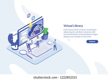 Creative web banner template with tiny people standing in front of giant computer screen and shelf of books. Virtual, electronic or online library service. Colorful isometric vector illustration.