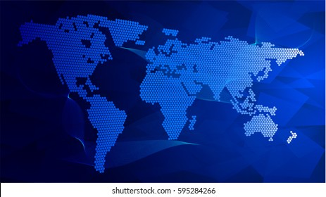 Creative Web Map of the World Composed of Dots on Blue IT Background. Vector Illustration