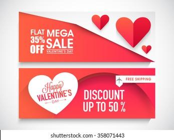 Creative website header or banner set of Mega Sale with Flat Discount Offer for Happy Valentine's Day celebration.