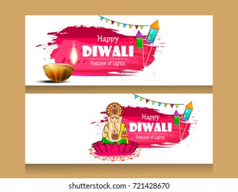 Creative website header or banner set with Happy Diwali text and Lord Ganesh ji on brush strokes decorated with traditional illuminated Oil Lamps (Diya) and firworks  for  Happy Diwali  celebration.