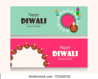 Creative website header or banner set with happy diwali text, with decorated traditional illuminated floral Oil Lamps (Diya) rangoli for  Happy Diwali (Shubh Diwali) celebration.
