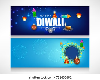 Creative website header or banner set with Happy diwali text, with decorated traditional illuminated floral Oil Lamps (Diya) rangoli and firworks and lamp for Happy Diwali (Shubh Diwali) celebration.