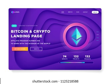 Creative website template Banner design concept for landing page. Cryptocurrency and Blockchain ICO investment. Isometric vector illustration.
