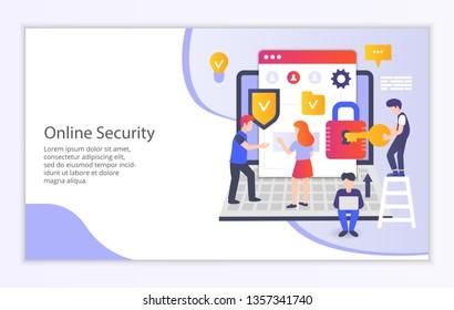 Creative website template of internet security concept, modern flat design vector illustration