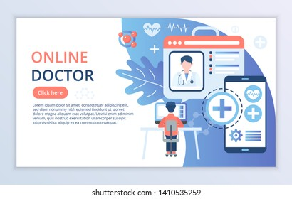 Creative website template of Online Doctor concept, modern flat design vector illustration, for graphic and web design