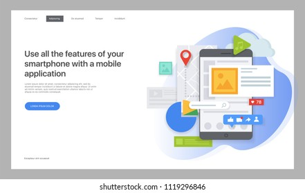 Creative website template. Vector illustration for a web page, Design and creation of pages in mobile websites and applications. Easy to edit