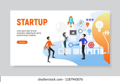 Creative website template of web page for startup, vector illustration