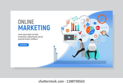 Creative website template of web page for online marketing, vector illustration