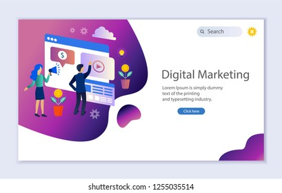 Creative website template of web page for digital marketing, vector illustration