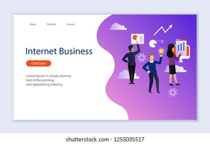Creative website template of web page for internet business, vector illustration