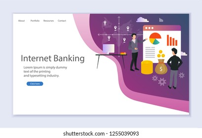 Creative website template of web page for internet banking, vector illustration