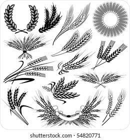Creative wheat ears & laurel wreath & wheat sheafs