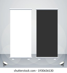 Creative white and black colour vector roll up banner mock up design