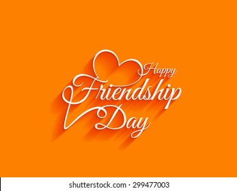 Creative white color happy friendship day text design element on bright background.