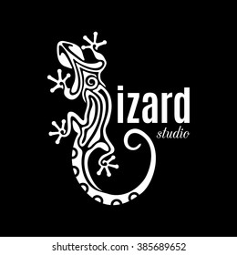Creative white lizard icon isolated on black background. Abstract vector logo lizard studio for your identity. Outline salamander design element. Vector illustration.