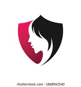 creative women shield logo concept