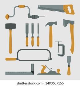 Creative Woodworking Tools Vector Set