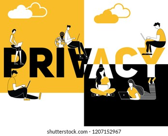 Creative word concept Privacy and people doing technology things