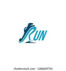 Creative wordmark logo, R for Run / Running logo