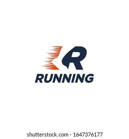 Creative wordmark logo, R for Run logo / Running logo vector template on white background
