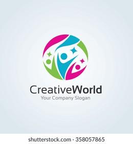 Creative world family logo template.