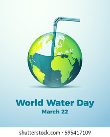 Creative World Water Day Poster. Editable Vector illustration. Water preservation message