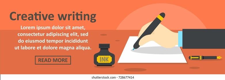Creative writing banner horizontal concept. Flat illustration of creative writing banner horizontal vector concept for web design