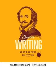 Creative Writing Banner Template. William Shakespeare Portrait. Vector Illustration