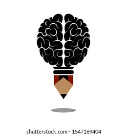 Creative writing concept. Brain with pencil flat illustration. Isolated on white background.