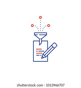 Creative writing concept, storytelling, content management, assay composition, education, vector mono line icons