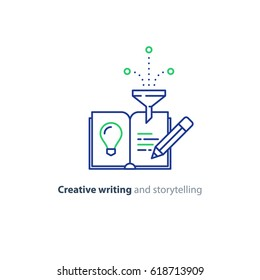 Creative writing concept, vector mono line icon