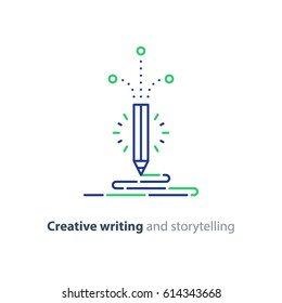 Creative writing, storytelling concept, copy writing idea, content writing, vector flat design illustration