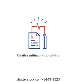 Creative writing and thinking concept, storytelling, assay composition, education, vector mono line icons