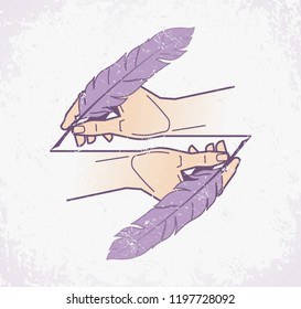 Creative Writing. Two human hands holding old-fashioned feather pencils / quill pens and drawing itself. Vector illustration on the subject of 'Professions'.
