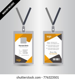 Creative Yellow & Black Color Id Card Vector Design Template