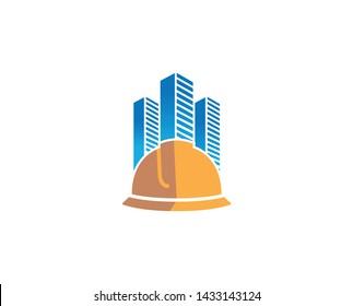 Creative Yellow Hardhat Helmet Skyscrapers Building Logo Design Symbol Vector Illustration