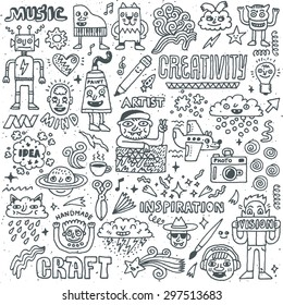 Creativity Activities Funny Doodle Cartoon Set 2. Arts and Crafts. Vector Hand Drawn Illustration Pattern.