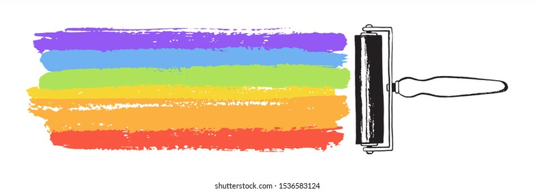 Creativity, art illustration. Rainbow LGBT colors vector striped brush stroke, painted stripes with rubber roller. Hand drawn background, text frame, banner. Colorful streaks, rough textured bars