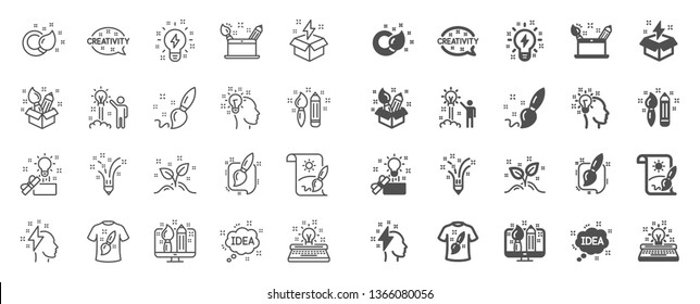 Creativity brush line icons. Set of Design, Idea and Inspiration linear icons. Imagination, Idea box and Creative design. Brush with draw pencil, T shirt and Out of the box creativity. Vector