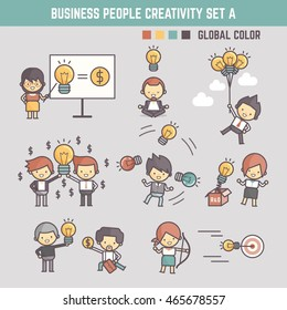 creativity business people outline cartoon character