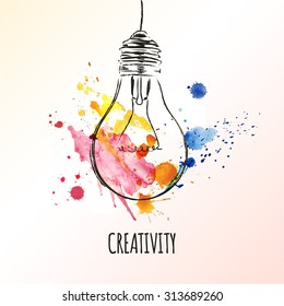 Creativity concept. Light bulb with watercolor splashes. Concept or creative thinking and unique ideas. Vector illustration