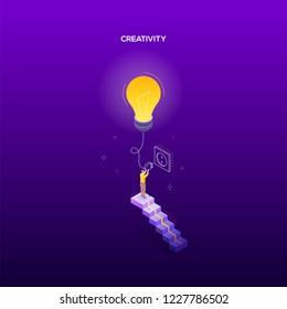Creativity concept - modern isometric vector web banner
