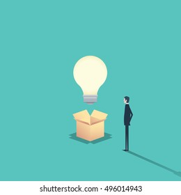 Creativity concept think outside the box with businessman and a lightbulb. Eps10 vector illustration.